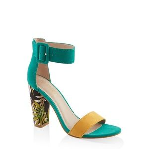 Gorgerous Leaf Print Chunky Heel Sandals